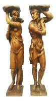coppia di grandi sculture in legno massello reggivasi noce anni 40 - 50 vintage