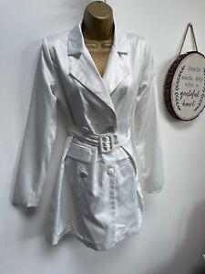 NASTY GAL White Belted Dress Jacket - Size 0