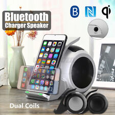 Wireless Fast Charger bluetooth Bass Stereo Speaker Charging Dock Stand