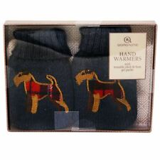 Hand Warmers Set Of 2 Fox Terrier Blue Reusable Gel Heat Packs Knitted Covers