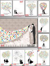 Thumbprint Fingerprint Bride & Groom Wedding Guest Book Canvas Painting+Inkpad