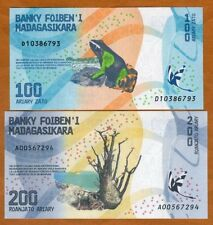 SET Madagascar, 100;200 Ariary, 2017 P-New UNC > Completely Redesigned