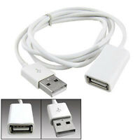ALS_ AU_ PVC Metal USB 2.0 Male to Female Extension Adapter Cable Cord 1m 3Ft Wh