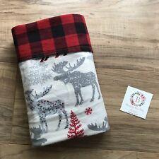 Buffalo Plaid Moose Flannel Baby Blanket