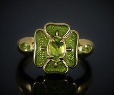 $995 PDN Thailand 10K Solid Yellow Gold Oval Marquise Peridot Cocktail Ring Band