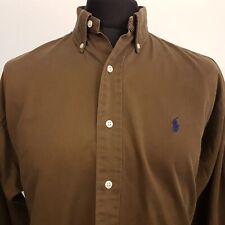Ralph Lauren Mens Vintage THICK Oxford Shirt 2XL Long Sleeve Brown Regular BLAKE