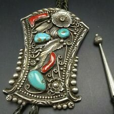 HEAVY Vintage NAVAJO Sterling Silver TURQUOISE Old Red Branch Coral BOLO Tie
