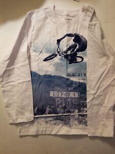 Children's Place  Boys T-Shirt White Bike Size M 7/8 L 10/12  NWT