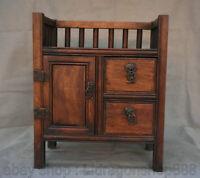 """15.2 """"vieille Chine Huanghuali sculpture sur bois Palais tiroir casier Cabinet"""
