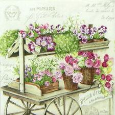 4x Paper Napkins for Decoupage Decopatch Craft - Les Fleurs