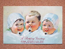 R&L Postcard: Greetings, Birthday, Children Babies Dummy/Teethers, Hats