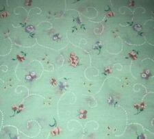 1/2 Yd Vintage Flocked Rosebud Soft Green Floral Cotton Fabric BTHY by Wamsutta