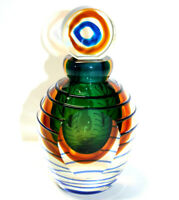 Heavy Blown Glass Vase Perfume Decanter Green Flat Sides Round Stopper *Flaw*