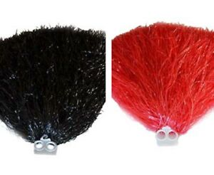 Set of 2 Multi Purpose Pom Poms Cheer leading or Party Gear Red or Black
