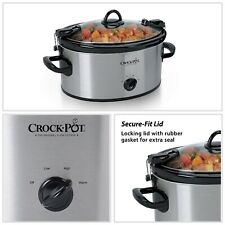 Portable Manual Slow Cooker Stainless Steel 6 Quart Oval Kitchen Appliances New