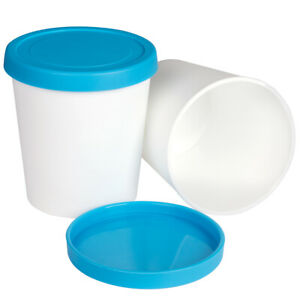 Ice Cream Containers Freezer Storage Tubs 1 Quart 2Pack Reusable Container w/Lid