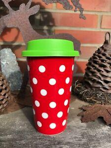 Coffee to go - Becher Porzellan Polka Dots Rot Weiss Reisebecher Tea to go