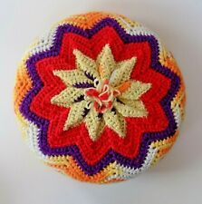 "Vintage Funky Colorful 12"" Round Crocheted Pillow ~ Multi Orange Red Purple"