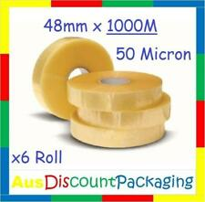 (6x Roll) 48mm  x 1000M Clear white Acrylic Machine sealing Packaging Tape 50 Mi