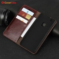Luxury Genuine Leather Wallet Flip Case Cover For Huawei P10 lite / P10 Plus