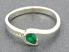 Womens Ring 9ct White Gold Emerald & Diamond Cocktail Dress Vintage Jewellery