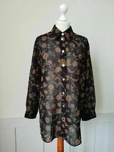 Vintage Semi Sheer Ladies 70/80s Shirt/Blouse in Black Floral Polyester *20*TE63