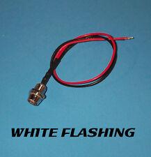 FLASHING LED - 5mm PRE WIRED 12V CHROME BEZEL - WHITE