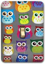 Cute Colorful Owl Retro Metal Switch plate Wall Cover Lighting Fixture SP708