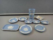 10 Pieces - Lot of Vintage Wedgwood Blue Jasperware