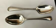 Vintage 2 X SHEFFIELD Silver Plate  22cm  Bead Beaded Patt Serving Spoons