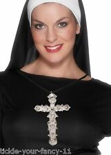 Mens Womens Cross Pendant Preist Fancy Dress Crucifix Nun Religion Pope Vicar
