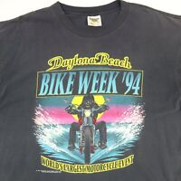 Vtg 90s Daytona Bike Week T-Shirt XL Faded Black Single Stitch USA Biker Beach