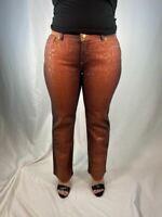 Roberto Cavalli Straight Leg Metallic Snake Print Pants Jeans