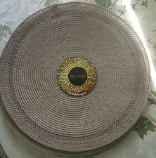 """Round  Woven Placemat  POLLYWOOD    GRAY/BROWN    Polypropylene SET OF 4  15""""in"""
