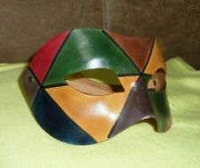 "Bertolini Venezia Leather Mask  Half Mask multi color 6.5"" x 4"" , 3"" front-back"