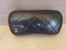 CHANEL Hard Shell Glasses Eyeglasses Sunglasses Case Leather with Logo excellent