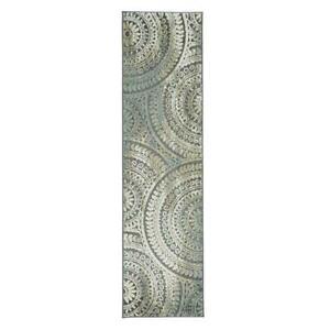 Home Decorators Collection 2x7 ft Runner Rug Carpet Floor Spiral Medallion Grey