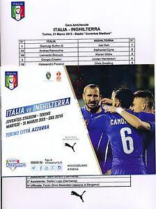 ITALY v England (Friendly International @ Turin) 2015 - Programme & Team sheet