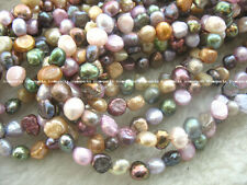 "10strands multicolor barpque freshwater pearl 7-8×5-6mm 15"" wholesale nature"
