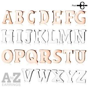 Stainless Steel Alphabet Letter Post Stud Earrings Silver or Rose Gold