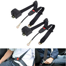 2pcs Black Universal 3 Point Retractable Adjule Car Seat Belt