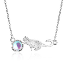 Ladies Solid 925 Sterling Silver Cute Moonstone Cat Pendant Necklace Gift