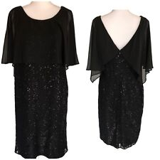 NWT Women's Size 14 Black Sequin Chiffon Overlay Shift Dress Cocktail Party LBD