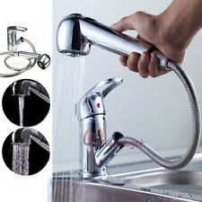 Monobloc Chrome Brass Kitchen Mixer Tap Pull Out Spray Head Swivel For Two Sinks