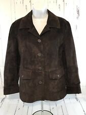 LL BEAN WOMENS LEATHER BLAZER JACKET COAT CHOCOLATE BROWN SIZE L EUC