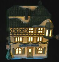 E Staubr Backer Porcelain Lighted Building Dept 56 Alpine Village Retired 1997
