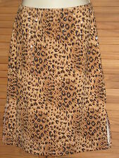 VOL.1 Sparkly Dots Leopard Lined Pencil Skirt Brown Size M Made in USA #CL109
