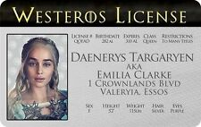 Daenerys Targaryen GAME OF THRONES Emilia Clarke Valeryia card Drivers License