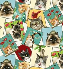 Elizabeth's Studio Curious Cats Quilt Fabric 4323 Cream By The Yard