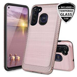 For Motorola Moto G Stylus 2020 Case Brushed Armor Rubber Cover +Tempered Glass